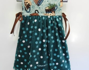 Coffee Theme  with Teal Hanging Kitchen Hand Towel Quilted Cotton Pot Holder Coordinating Ribbon Ties onto any kitchen appliance handle