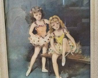 1950s Ballet Girls with sprakles. Signed Flo.