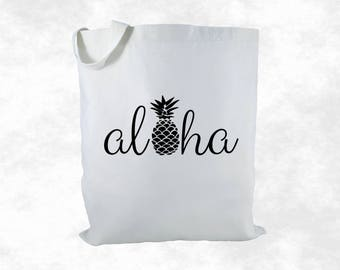 Aloha Pineapple Canvas Tote Bag, Aloha Tote Bag, Hawaii Gift Bag, Beach Bag, Pineapple Aloha Bag