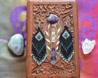 Dark Silver Aqua Beaded Earrings