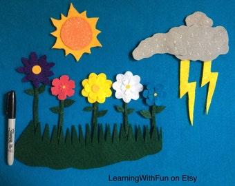 Felt Story 5 Little Flowers//felt stories//Nature//science//math//felt board//stories//Spring//flannel stories //Weather//Felt//board story