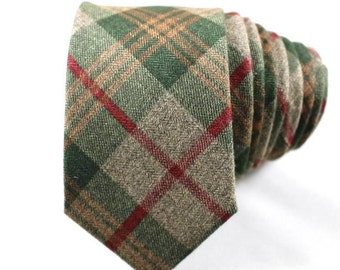 Green and Red Tartan Wool Tie
