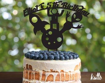 Rocket Birthday Cake Topper, Customizable alien Cake Topper, Space man Cake Topper, Silhouette Robots Cake Topper, customizable Cake topper