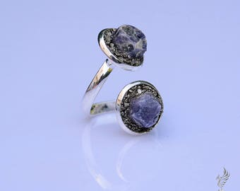 Sapphire Birthstone Ring - Rustic Engagement Ring - September Birthstone Jewelry - Adjustable Ring - Raw Sapphire Ring - Birthday Gift Idea