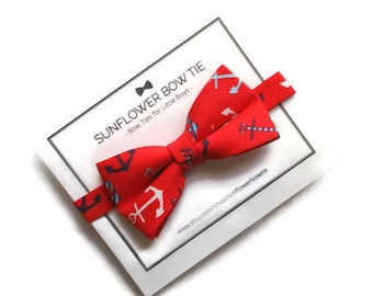Anchors Bow Tie- Nautical Boys Bow Tie - Bow Tie for Boys - Pre-tied Bow Tie - Red Bow Tie - Boys Bow Tie - Boys Bow Tie Red