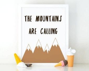 The mountains are calling, Minimalist wall art, printable wall art, Kids room decor, Nursery decor, mountains wall art, nursery wall art
