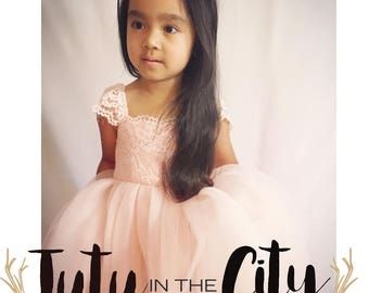 Emma Tulle Dress with capped sleeves and lace bodice so gorgeous as a flower girl dress, baptism, holiday dress or birthday dress.