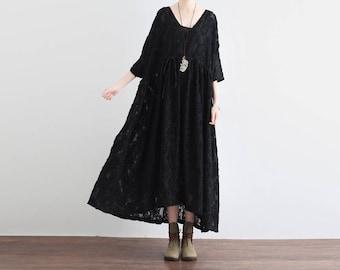 Floral lace dress, black lace dress, bridesmaid dress, vintage dress, long lace dress, lace skirt chiffon dress beach dress, summer dress 43