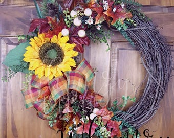 Fall Wreath for door-Autumn Wreath-Sunflower Wreath-Front Door Wreath-Fall Floral Wreath-Fall Wreath For Front Door-Fall Wreath Autumn