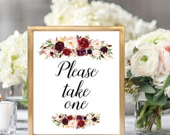 Please Take One, Favors Sign, Favors Sign Printable, Printable Wedding Sign, Please Take One Sign, Wedding Program Sign, #D021