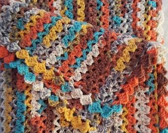 Colorful Crochet Confetti Blanket, Wheelchair Blanket, Toddler Blanket, Multi Color Throw, Lapghan