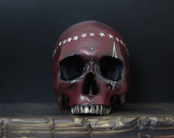 The Patriot Saint - Wine Red Life Size Realistic Faux Human Skull Replica with White Star Crown & Removable Jaw / Art / Ornament / Decor