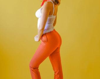 60s Burnt Orange High Waist Trouser | Sz 28 | Mom Pants Vintage