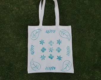 Hand printed patterned canvas tote bag