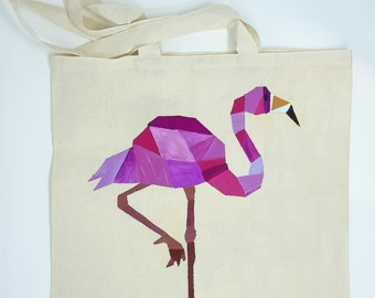 "Tote bag "" Geometrical flamingo"", cotton bag, shopping bag, shoulder bag , reusable bag,  hand painted bag, canvas bag"