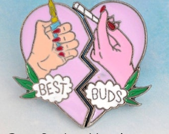 Soft Enamel Best Buds Two Piece Pink Smoking Weed Pin