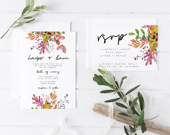 Autumnal Wedding Invitation Suite, the Harper Suite, Floral Wedding Invitations, Rustic Invite, Printable Invite, Minimalist Wedding Invite