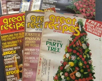 8 Great Recipes of the World Magazines , 1981 1983 , Vintage Cooking Magazines , Out of Print