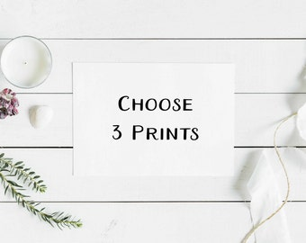 Choose 3 Prints  - Discounted Bundle And Save - Scripture Wall Art - Bible Verse Prints - Christian Gift - Wedding - Encouraging Gift