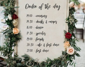 PERSONALISED Order of the day Wedding Sign, Printable Wedding Sign, Printable sign, Wedding decoration sign