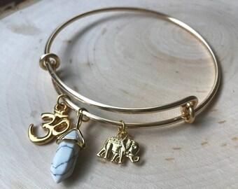 Charm Bracelet bangle, Om/Marble/Elephant