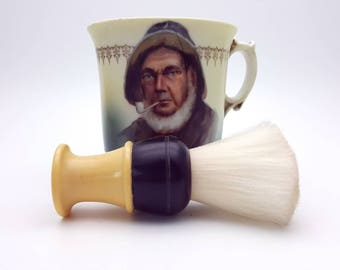 Vintage Sailor Shaving Cup and Brush Set Scuttle Mustache Beard Grooming Porcelain Mug Two Section Soap Holder Gift for Dad Father's Day Men