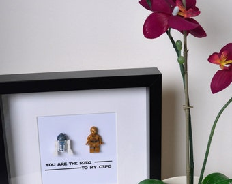 Shadow Box Frame//Star Wars//R2d2//C3P0//Droids//Minifigures//Personalise//Geek//Love//Gift//Valentines//Anniversary//Engagement//Birthday