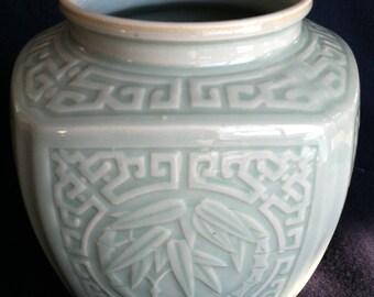 Celadon Ginger Jar Mid century Glazed porcelain