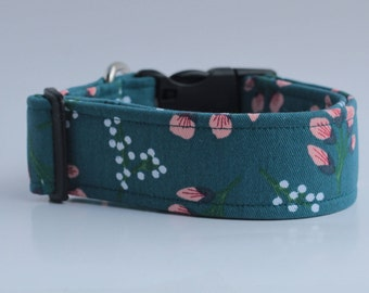 Floral on Teal Dog Collar