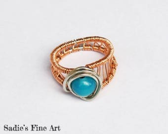 Teal and Copper Wire Wrap Ring
