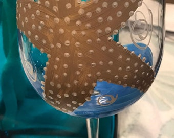 Set of Two-Starfish Wine Glasses