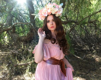 Pale Peach Fairy flower crown, Fantasy headpiece, Butterfly Crown, Bridal Headpiece, Renaissance