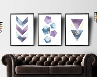 Set of 3 Prints, Geometric Print, Set of 3 Wall Art, Bedroom Wall Art, Geometric Printable Art, Scandinavian Prints Set, Instant Download