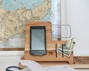 Charging Station, Wooden Desk Organizer, Wood iPhone Stand, Wood iPhone Dock, Docking Station for iPhone, Gifts For Men Who Have Everything