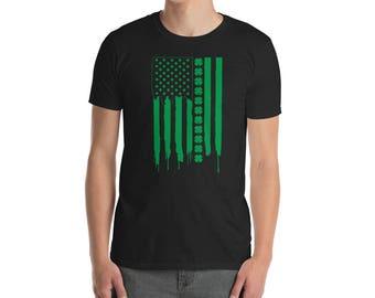 Saint St patricks day irish american flag shamrock shirt lucky irish charm st pattys paddys day clover st patty day green shamrock shirt