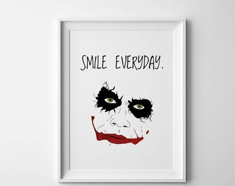 joker digital print, joker poster, joker wall art, smile everyday, cool last minute gift, funny love prints, joker movie print,