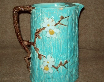 1800's Holdcroft Majolica water pitcher