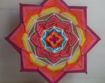 Svadhisthana - woven mandala, ojo de dios, - wall hanging, 26 cm (10 inches) in diameter
