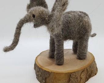 Baby elephant, needle felt baby elephant, poseable needle felt elephant, needle felted elephant, wool elephant, Heffalump