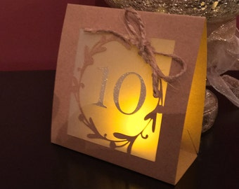 ROMANTIC Table Number Luminaries with RUSTIC wreath, GOLD glitter numbers and cute twine bow.