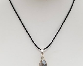 Blue Calcite Pendant Necklace, Free Shipping (E17176), Blue Calcite and Sterling Silver Necklace, Pendantlady,pq