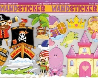 Tattoos, wall stickers, for child. Knight & Princess or pirate