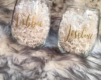 Personalized Stemless Wine Glass, Bridesmaid Gift, Will you be my Bridesmaid