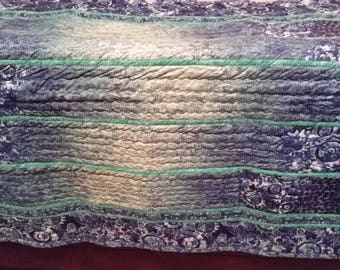 Beautiful Waterfall Lap Quilt - Blues and greens with metallic shimmer