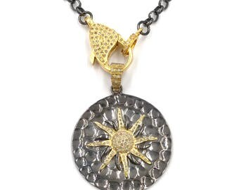 Chain only:  Short diamond gold sun necklace, Pave diamond necklace, Layer necklace, Diamond chain