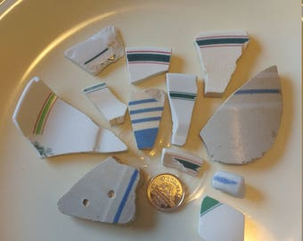 Striped green blue and white Sea Pottery Genuine Surf Tumbled
