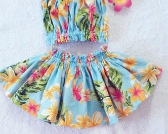 kids hula skirt, girls hula outfit, baby / toddler  luau outfit, kids  luau birthday, 3 piece set,kids clothes, girls clothing set