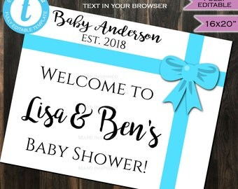 Baby Shower Welcome Sign Baby Sprinkle Board Baby Boy & Co Bow Blue Party Decorations Template Custom Printable INSTANT Self EDITABLE 16x20