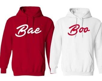 Couple Bae & Boo Valentines Day Hoodies