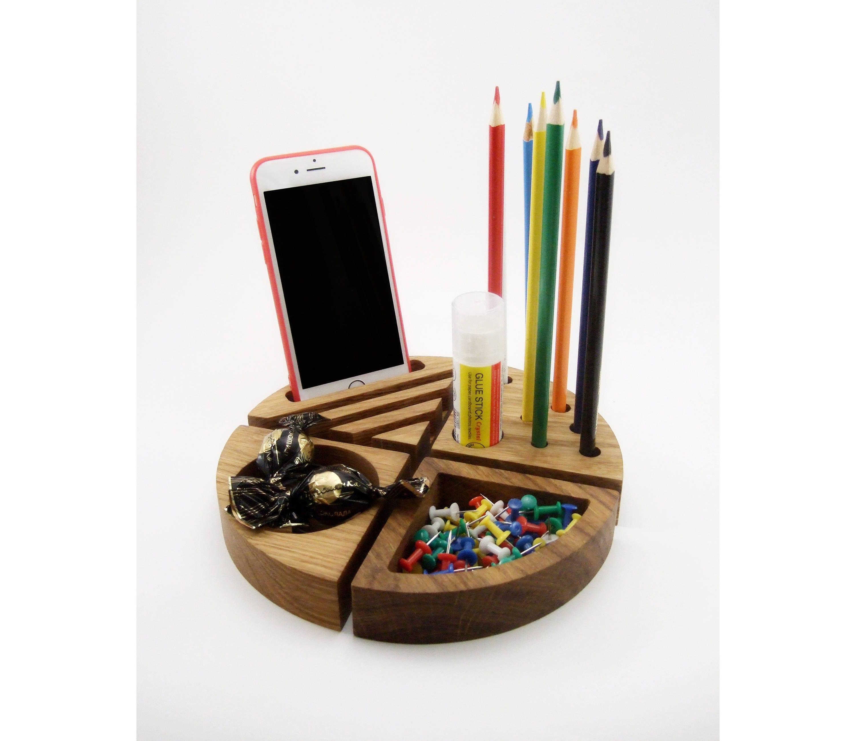 Wood Organizer Set Desk Accessories Office Organization Iphone